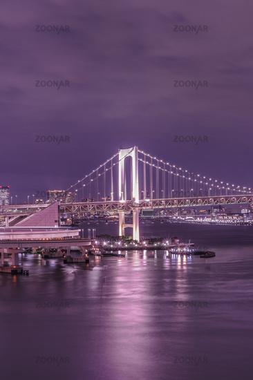Purple night on Rainbow Bridge with cruise ships moored in Odaiba Bay of Tokyo
