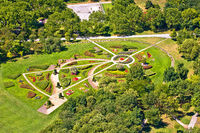 Vienna. Green flower park in Donaupark Vienna aerial view