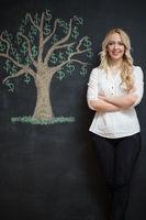 Happy blonde Business woman in front of chalk money tree drawing on blackboard.