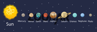 Planet in the solar system infographics flat style. Planets collection with sun, mercury, mars, earth, uranium, neptune, mars, pluto, venus. Children's educational vector illustration
