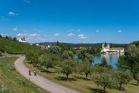 Landscape with the Rhine river, Rheinau Monastery Island and Sai