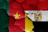 flags of Cameroon and Egypt painted on cracked wall