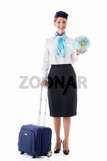 Stewardess with a globe