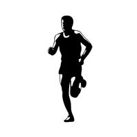 Marathon Runner Running Front Silhouette Retro Blakc and White