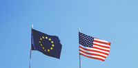 flags of Europe and United States of America next to each other