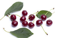 Cherry berries with green leaves and twigs. Beautiful summer red berries.