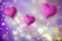 Pink hearts on purple background