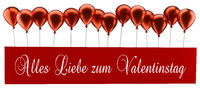 Red balloons with the German words Happy Valentines Day on a card