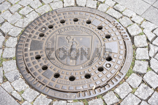 Manhole Cover with the City Crest of Magdeburg