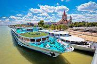 Vienna. Franz von Assisi church and river cruiser on Danube river in Vienna view