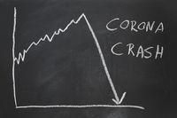 corona crash - hand-drawn graph showing stock market collapse