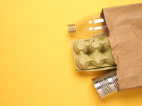 Paper bag with recyclable consumer goods
