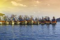 Fishing Boats Docked at Thap Lamu Pier Thailand 16.12.2019