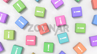 Exclamation Point on Colofrul Cubes on Gray Background