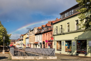 bernburg, germany - renovated row of houses in the old town