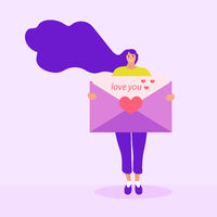 Girl holds a love letter, mail, valentines day concept. Flat modern illustration. Vector