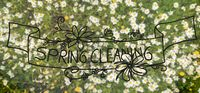 Top View Of Daisy Flower Meadow, English Calligraphy Spring Cleaning