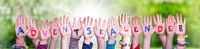 Children Hands Building Adventskalender Means Advent Calendar, Grass Meadow