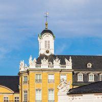 Roof Details of Clocktower of Castle Karlsruhe. In Karlsruhe, Baden-Württemberg, Germany