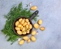 Whole young potatoes for baking.