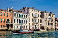 venice, italy - 16.03.2019 - grand canal with palazzo grimani marcello and palazzo bernardo
