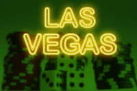 Neon style Las Vagas sign with dice and poker chips casino green background