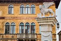 bassano del grappa, italy - 03/17/2019 - piazza della liberta with markus lions