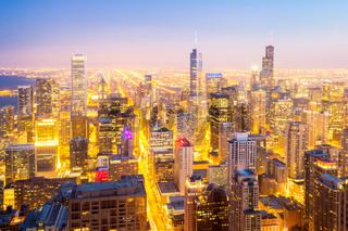 Chicago City downtown at dusk