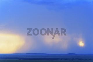 Savannah landscape with thunderstorm clouds