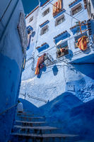 Staircase in the Blue City of Chefchaouen, Morocco