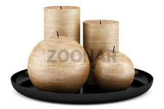 four brown candles on dish isolated on white background