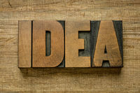 idea word abstract in vintage letterpress wood type