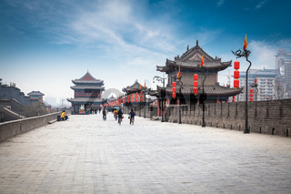 on the ancient city wall in xian