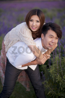 Young couple play