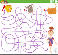 line maze task with girl and pet characters
