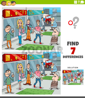 differences educational game with cartoon people group