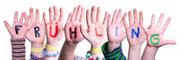 Children Hands Building Fruehling Means Spring, Isolated Background