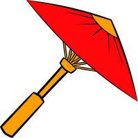 Asian red parasol or umbrella icon, icon cartoon