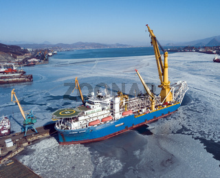 Nakhodka, Russia - February 06, 2020: vessel Academic Chersky standing in the port at the pier.