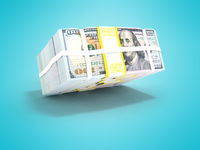 Stack of dollars isolated from height 3d render not blue background with shadow