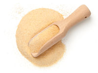 Garlic Powder With Wooden Shovel Isolated
