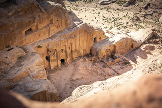 View on the Renaissance Tomb in Petra Jordan, on the High Place of Sacrifice Trail. View from above, valley deep down below