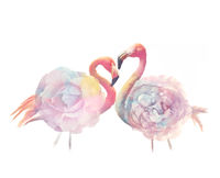 digital painting of Pink flamingo birds with flower