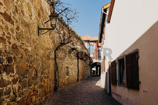 A historic old town with a city wall