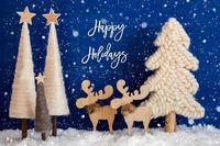 Christmas Tree, Moose, Snow, Text Happy Holidays, Snowflakes