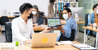 Panoramic Social distance office with business team wear face mask as new normal life