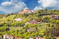 Verona hillside landscape and Madonna di Lourdes sanctuary view