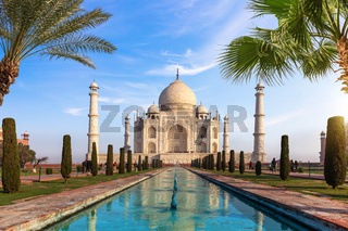 Famous Taj Mahal of India, main view, Agra