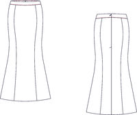 Long skirt with banded waist, back zip clasp, back kick pleat.