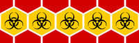 International biological hazard graphic symbol used during contamination with infectious diseases.